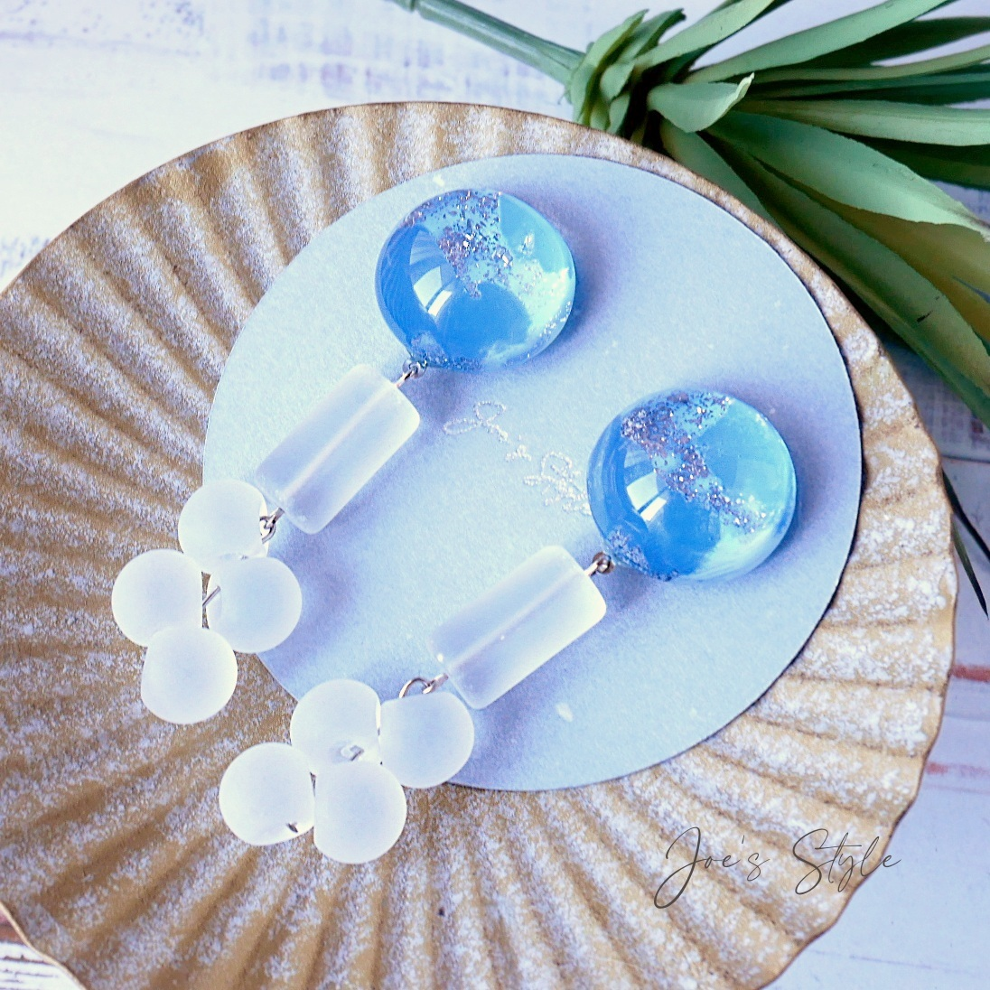 """"""" Earrings NO.0-1998″ ペイントラメ&フロストガラス"""