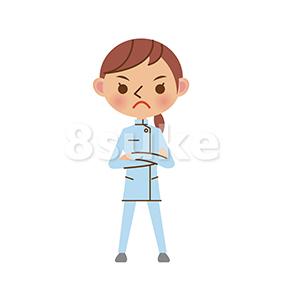 イラスト素材:険しい表情で腕組みをする介護士の女性(ベクター・JPG)