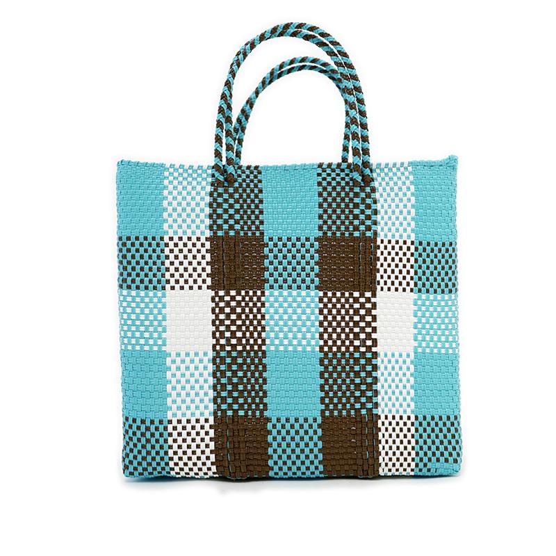 MERCADO BAG CHECK - Light Blue x Brown x White(M)