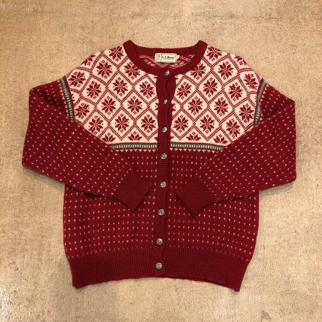 LL Bean Fair Isle Sweater Cardigan  ¥7,000+tax
