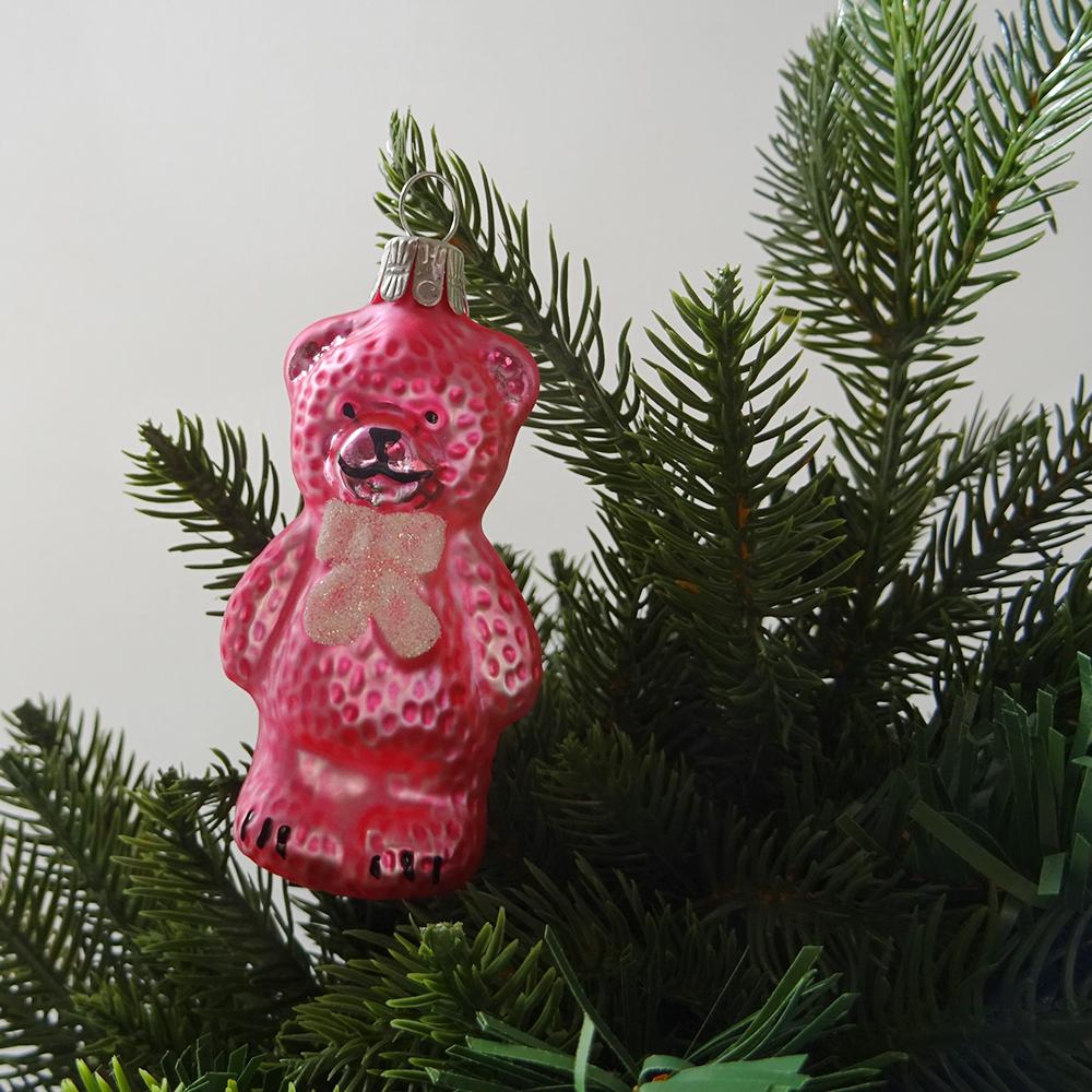 チェコ ガラスのクリスマスオーナメント くま / ピンク