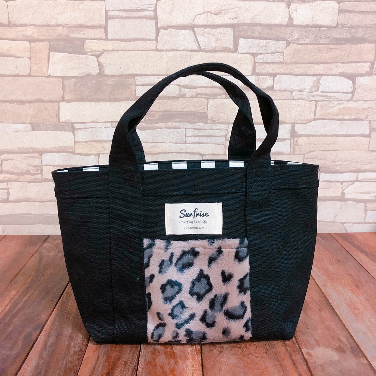 Tote bag S - Black/Leopard