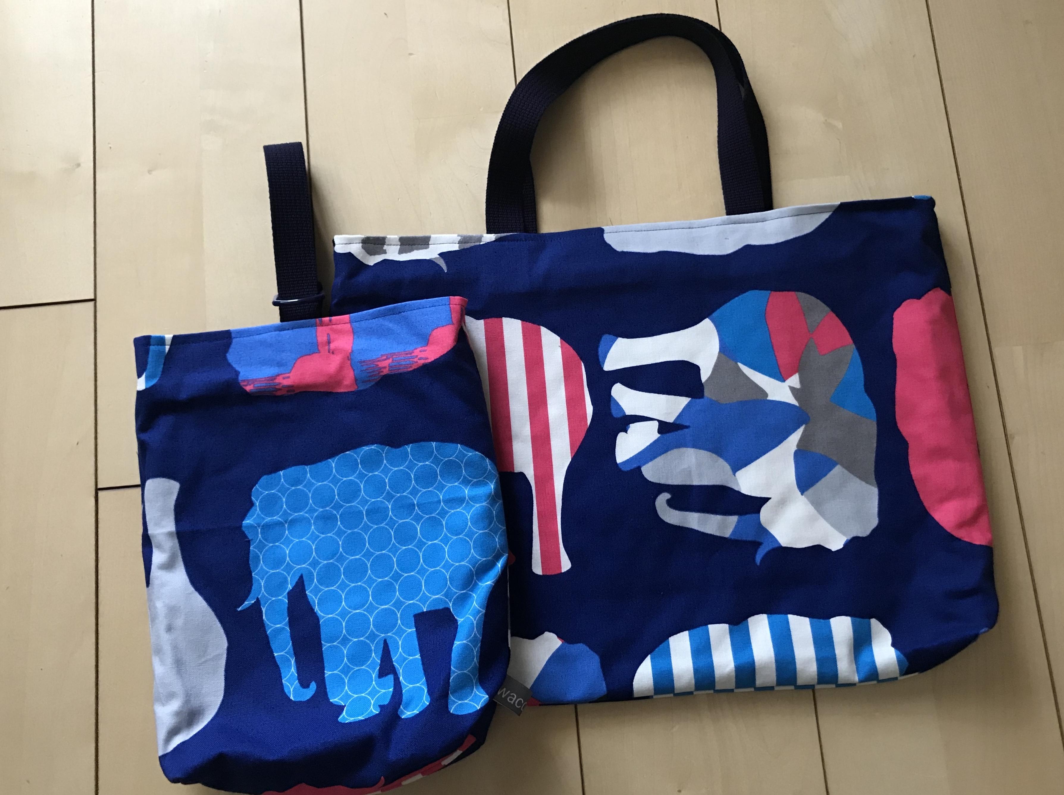 入園グッズ/手提げ鞄と上履き入れ/象柄A