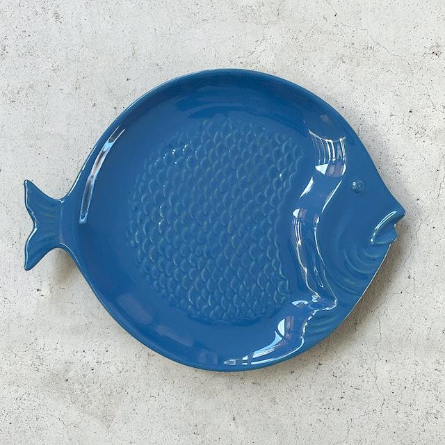 Round Plate Fish CobaltBlue ラウンドプレート 皿