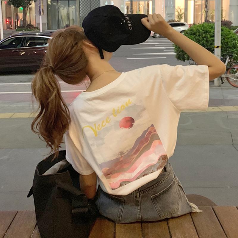 【送料無料】サマープリント♡ バックプリント カジュアル  オーバーサイズ Tシャツ