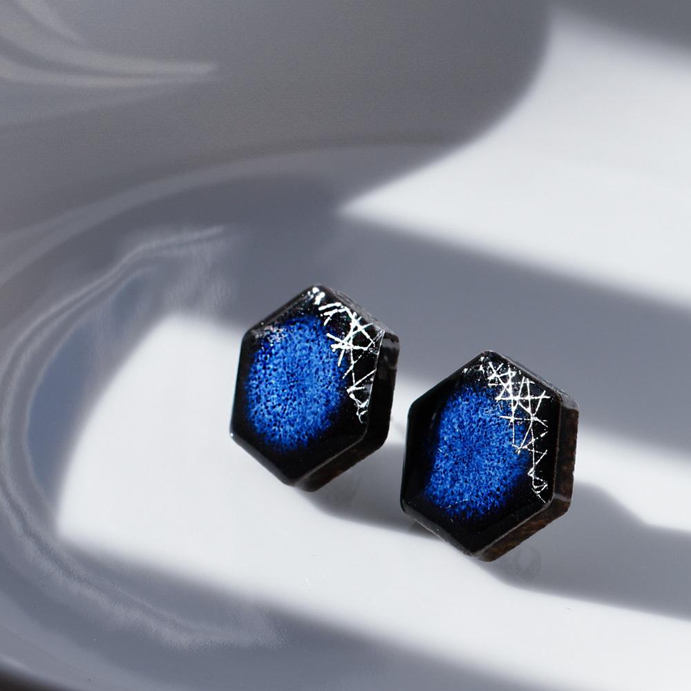 陶器 六角形 藍色×シルバー 木漏れ日 イヤリング&ピアス 伝統工芸品 美濃焼