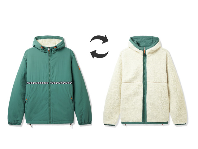 BUTTERGOODS|Base Camp Reversible Sherpa Jacket (Green)