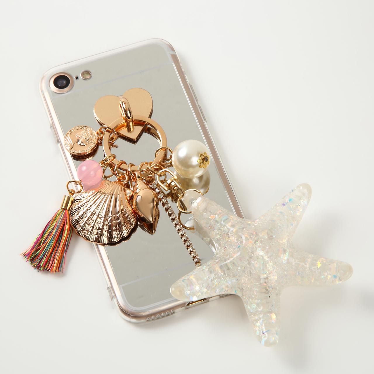 【即納★送料無料】ミラーソフトケースにヒトデ 貝殻 チャーム付 iPhoneケース