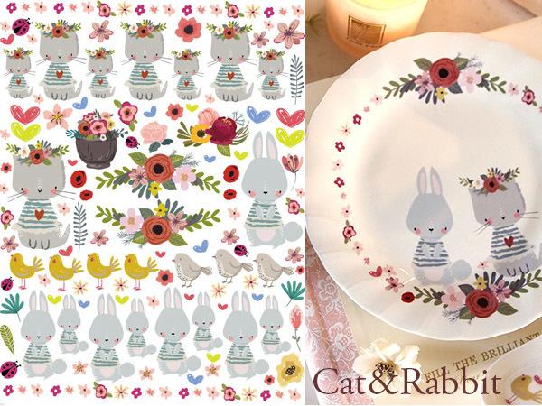cat&rabbit キャット&ラビット転写紙 A4サイズ(ポーセラーツ転写紙 ねことうさぎ)