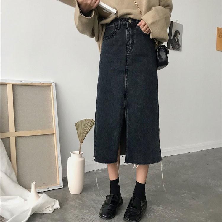 【bottoms】カジュアル無地ハイウエスト膝下丈Aラインスカート14276625