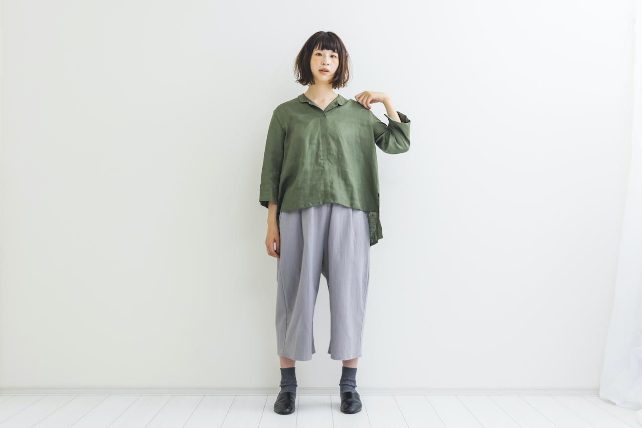 【期間限定受注】襟付きリネンシャツ green