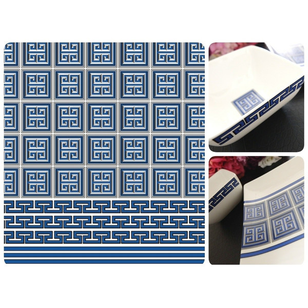 Greek Key New York Style Blue ポーセラーツ白磁用転写紙