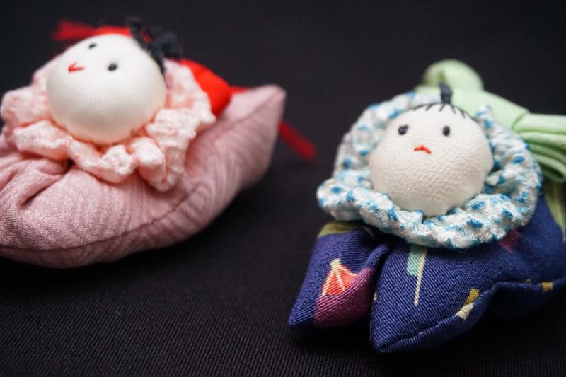着物、和服の古布人形・クリップ「赤ちゃん」 - 画像1