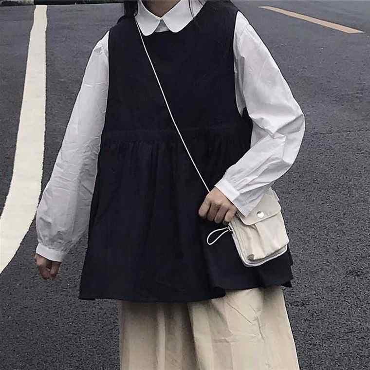 【送料無料】おしゃれ レイヤード ♡ 2点セット セットアップ 丸襟 長袖 シャツ × Aライン ベスト