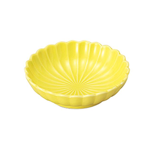 【2054-0212】強化磁器 菊型丸皿 黄色
