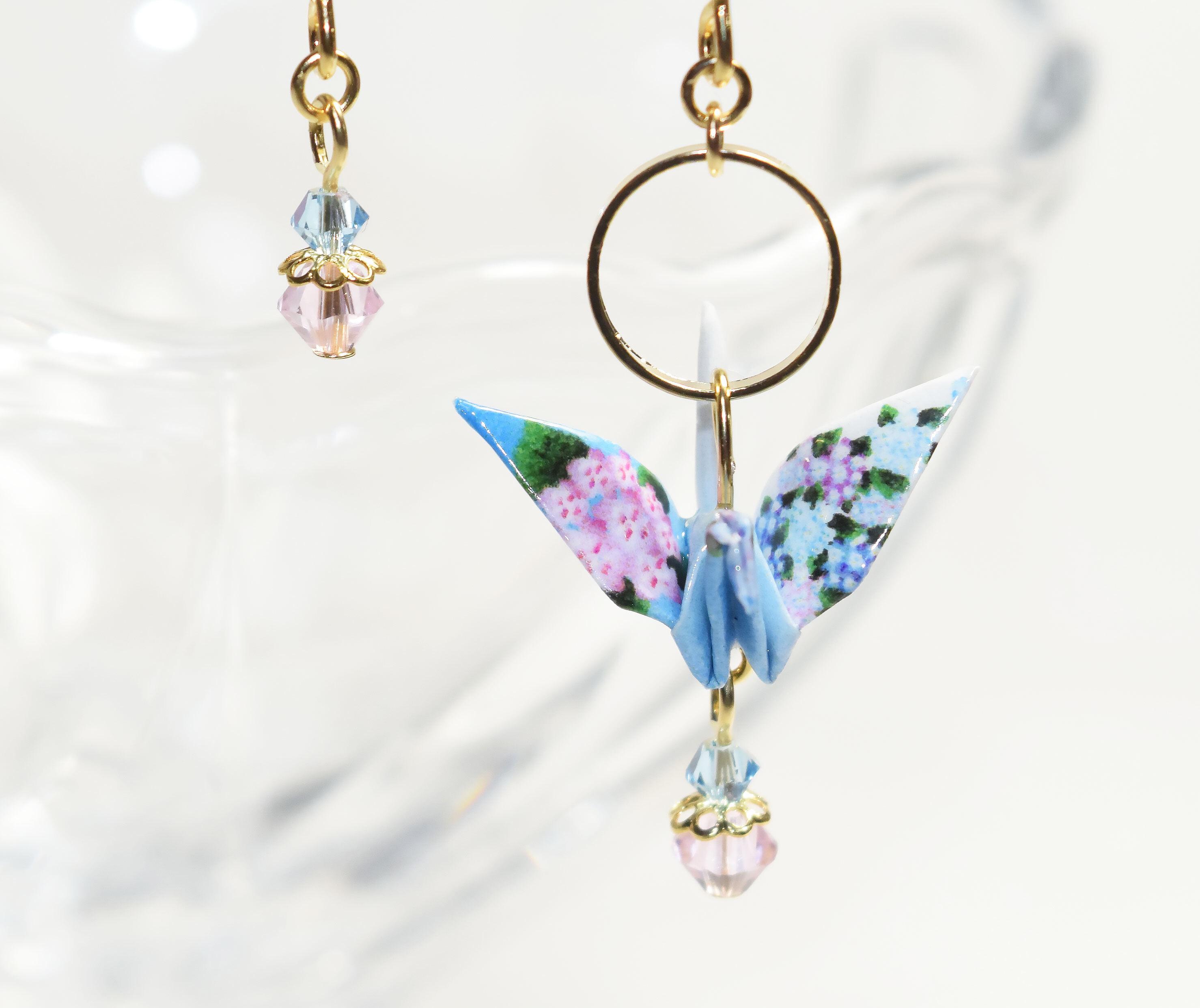紫陽花柄折り鶴