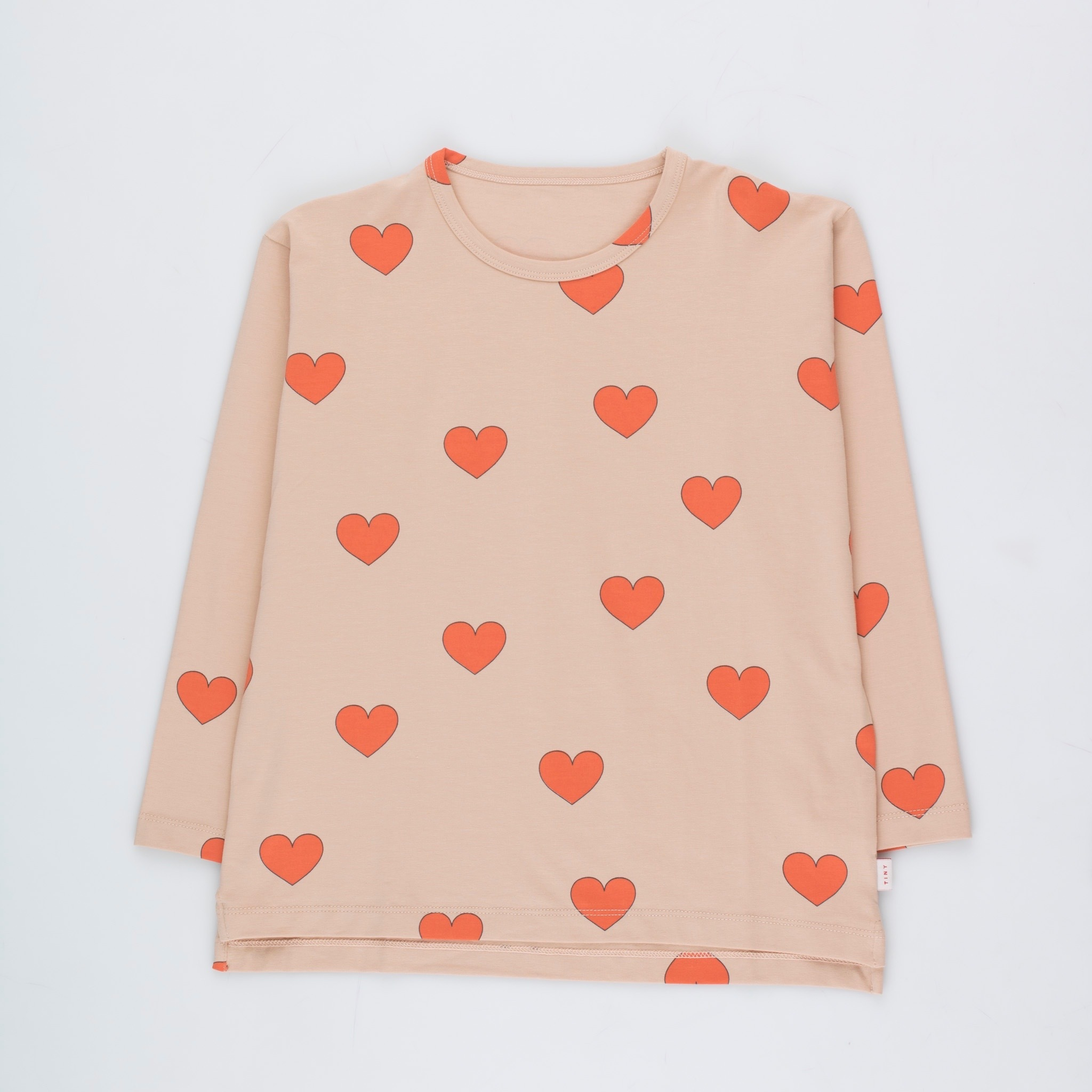 《TINYCOTTONS 2020AW》HEARTS TEE / light nude × red
