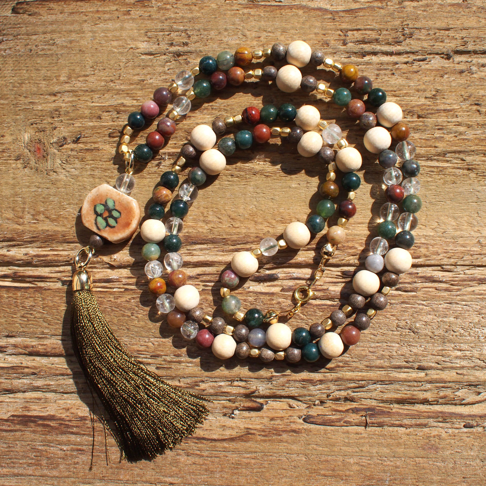 【Indian Agate】×【Crystal】Long Necklace