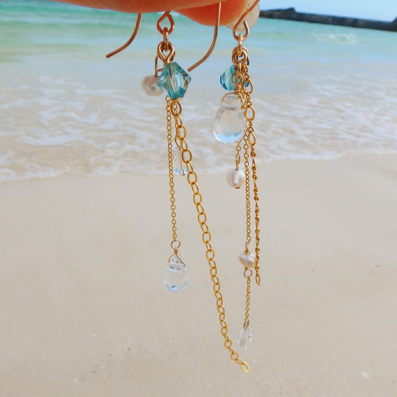 Drop Crystal Waver Chain Pierce