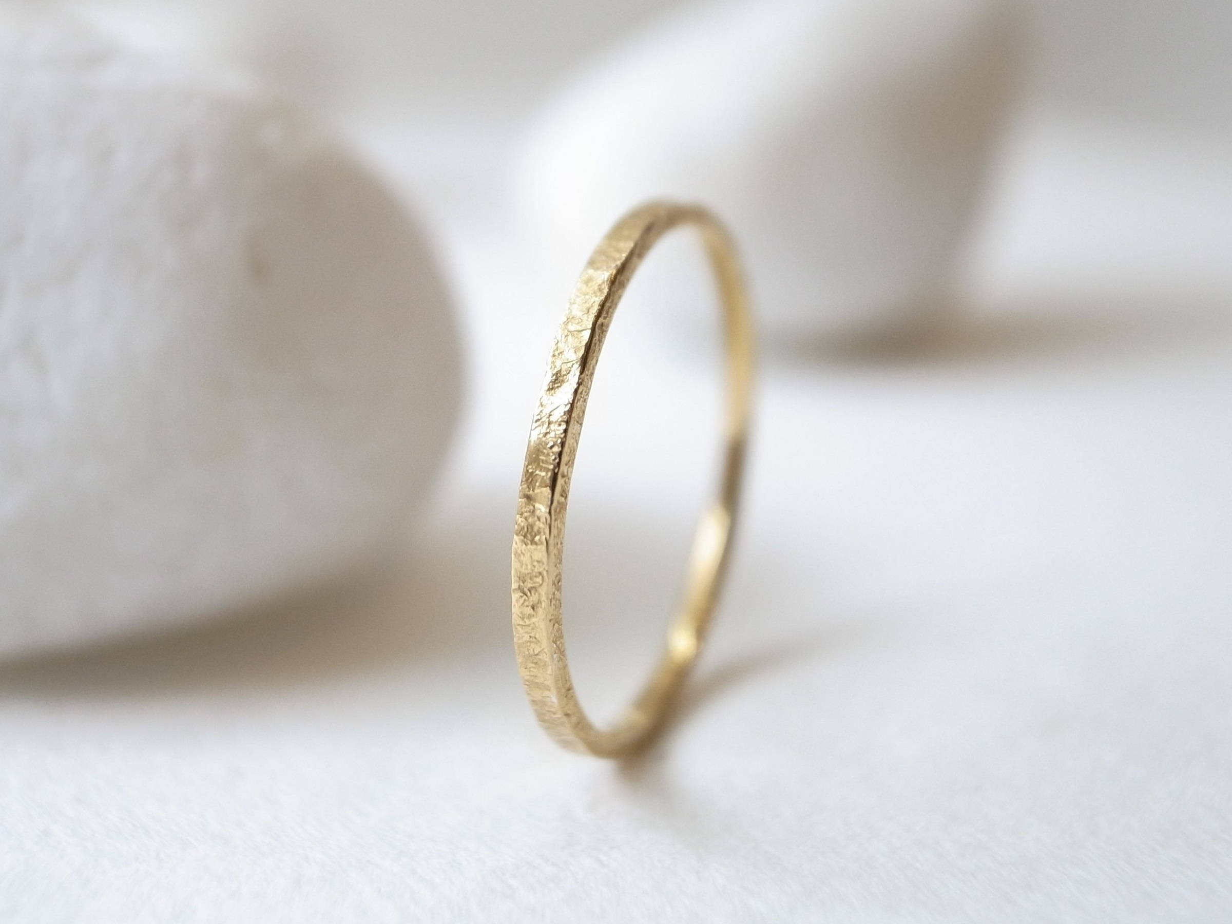 K18YG/stone texture ring