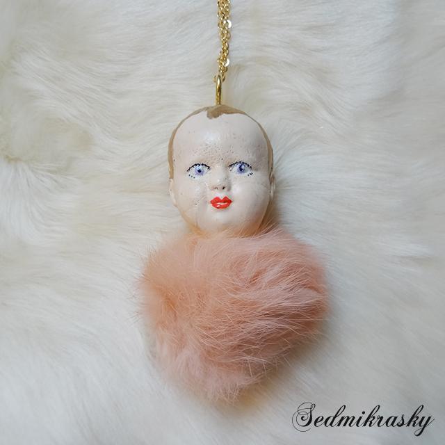 ベビードールファーネックレス / ピンク