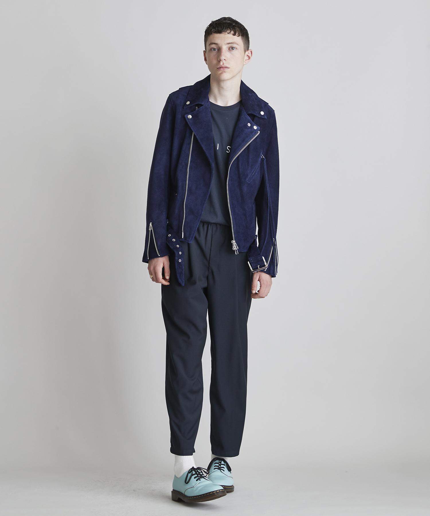 ライダースジャケット(牛革スエード)【ネイビー】