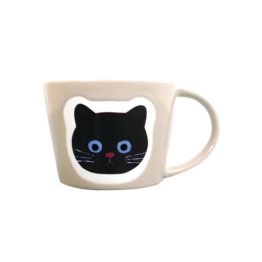 猫マグカップ(エクートミネットフェイスマグ)まっくろ