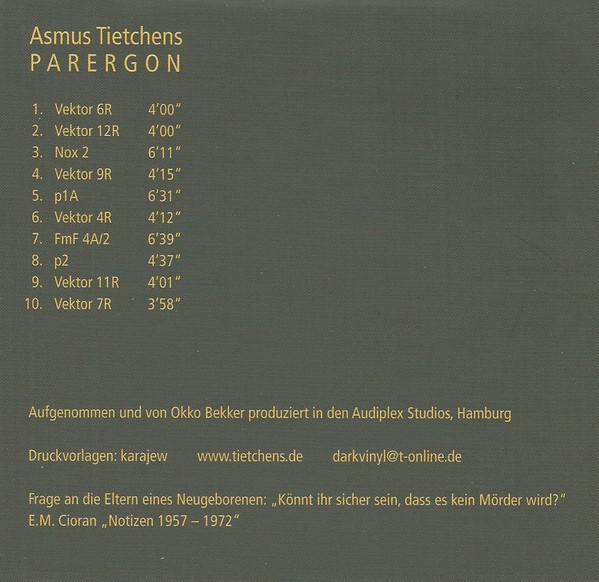 ASMUS TIETCHENS - Parergon  CD - 画像2