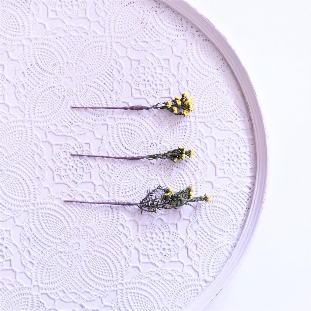 〖 フィリカ・イエロー のヘッドドレスパーツ3本 〗お好きなプリザ花材をカスタムメイドでお作り致します