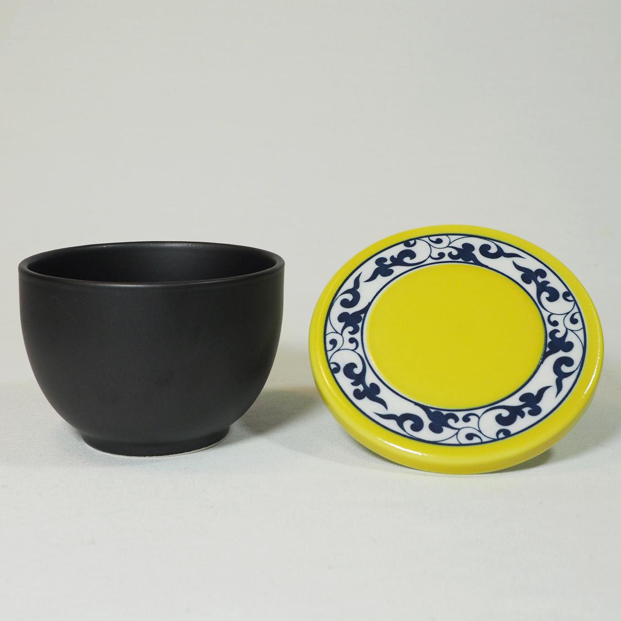 セラミック平蓋一膳 おひつ(黄唐草) 50-001-F