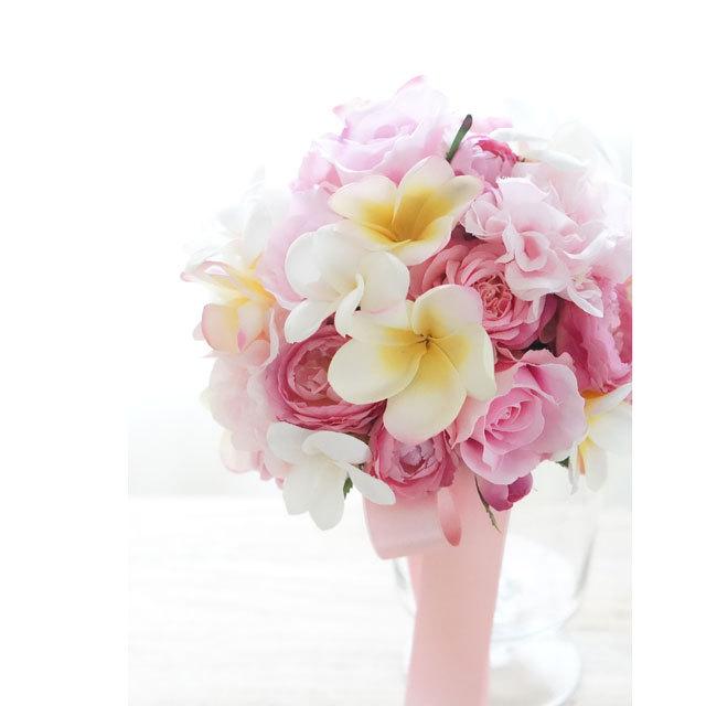【3点セット】キュートなピンクバラとプルメリアブーケ+ブトニア+花冠