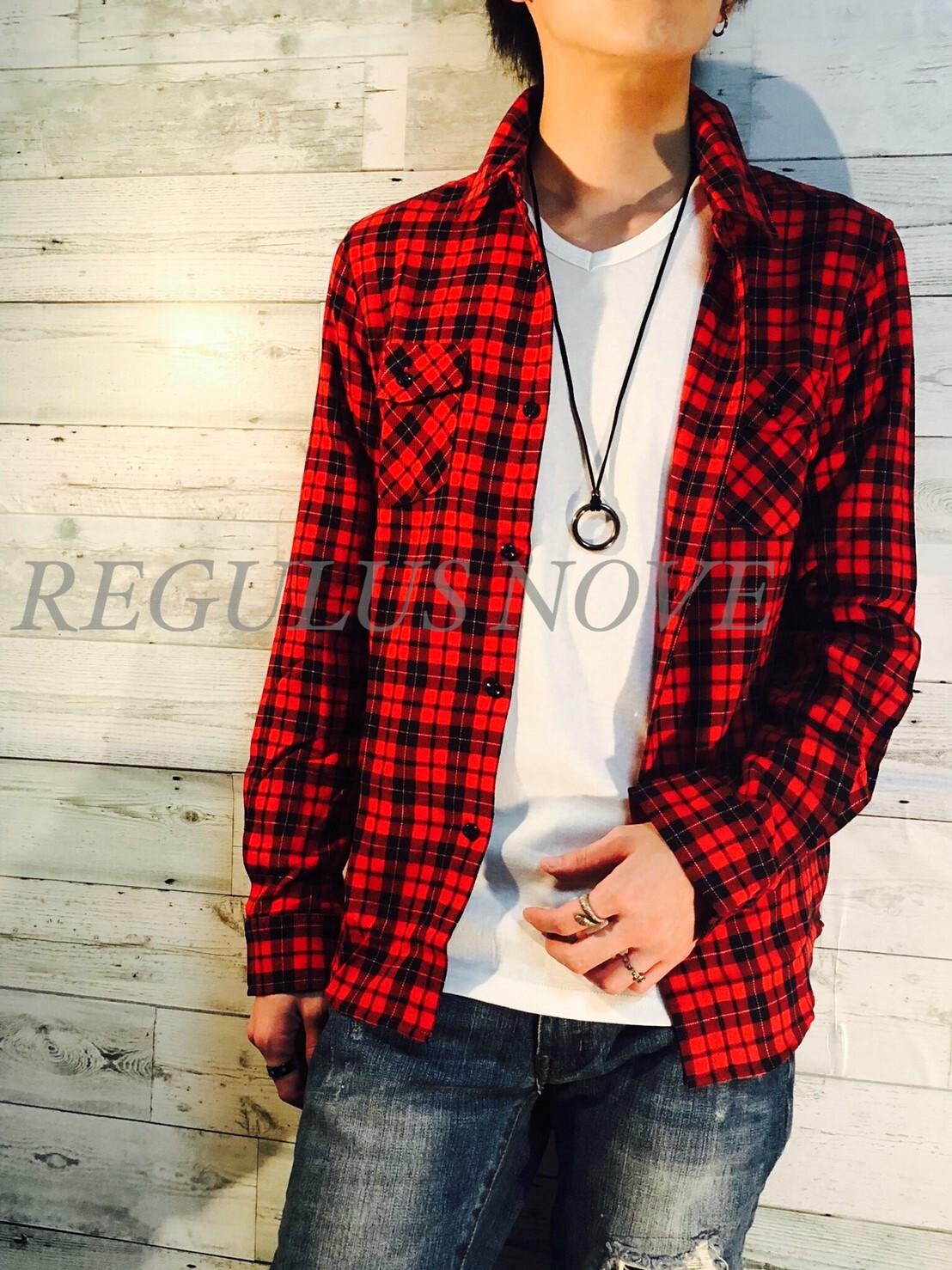 REGULUS NOVE マルチカラープレーンチェックシャツ RED  メンズ レディース ユニセックス 春物 夏物 長袖 大人 シンプル レイヤード