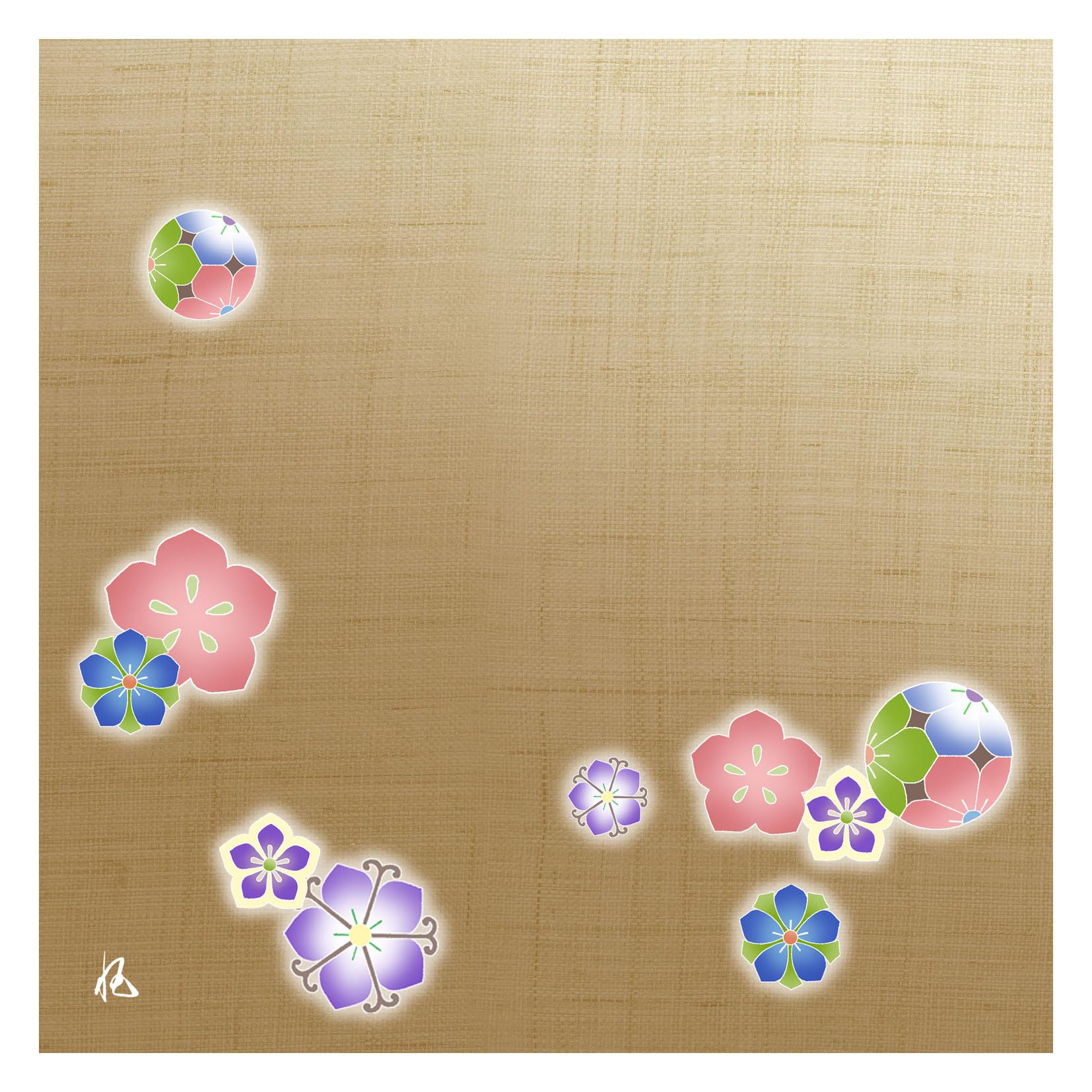 ガラス皿「そめゆら」K-09 桔梗紋 ベージュ