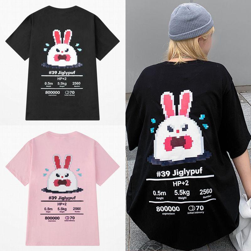 ユニセックス Tシャツ 半袖 メンズ レディース ラウンドネック ドット絵 うさぎ ラビット プリント オーバーサイズ 大きいサイズ ルーズ ストリート