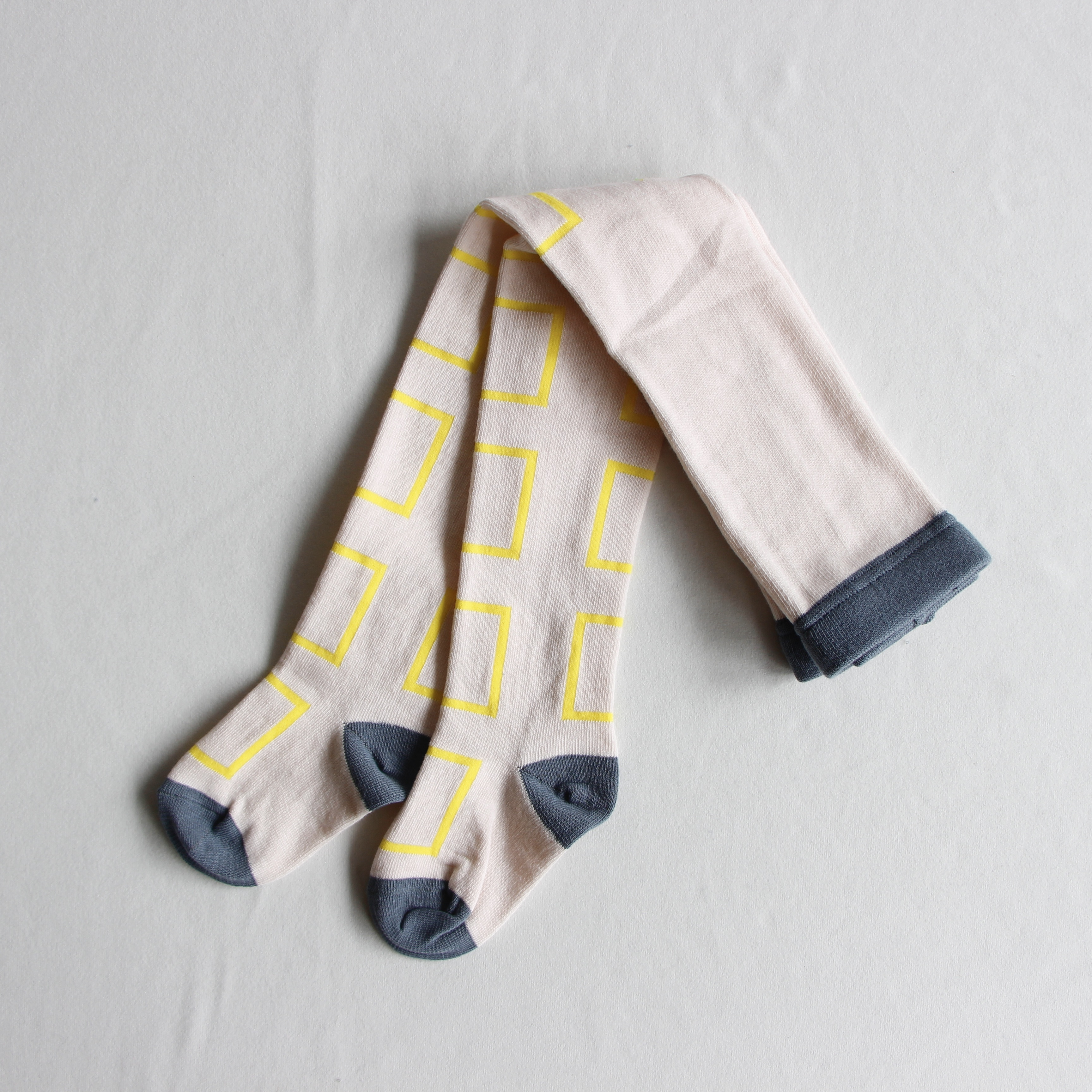 《frankygrow 2020AW》SQUARE TIGHTS / pink × yellow × square / LL