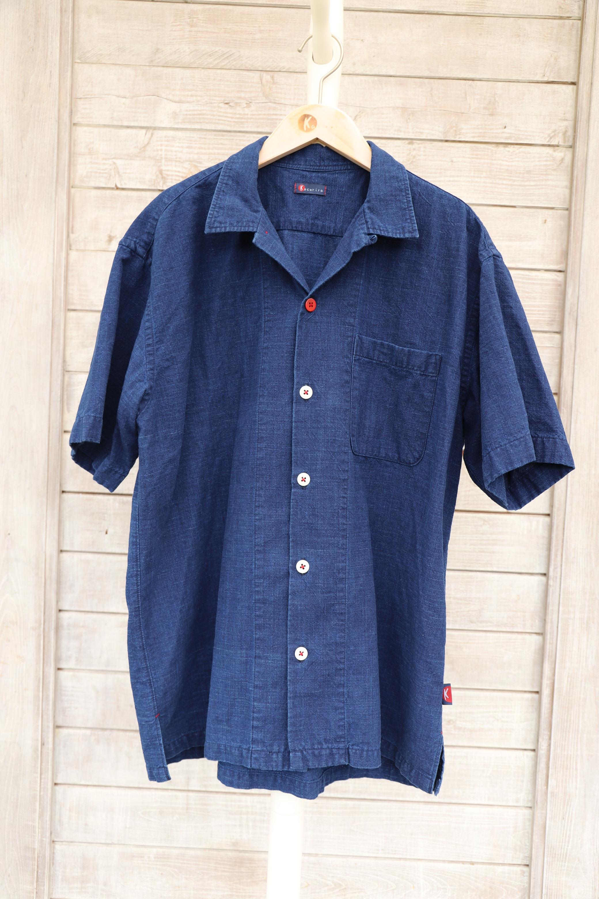 半袖アロハシャツ(男女兼用) SHI06 藍染濃紺無地(K18)
