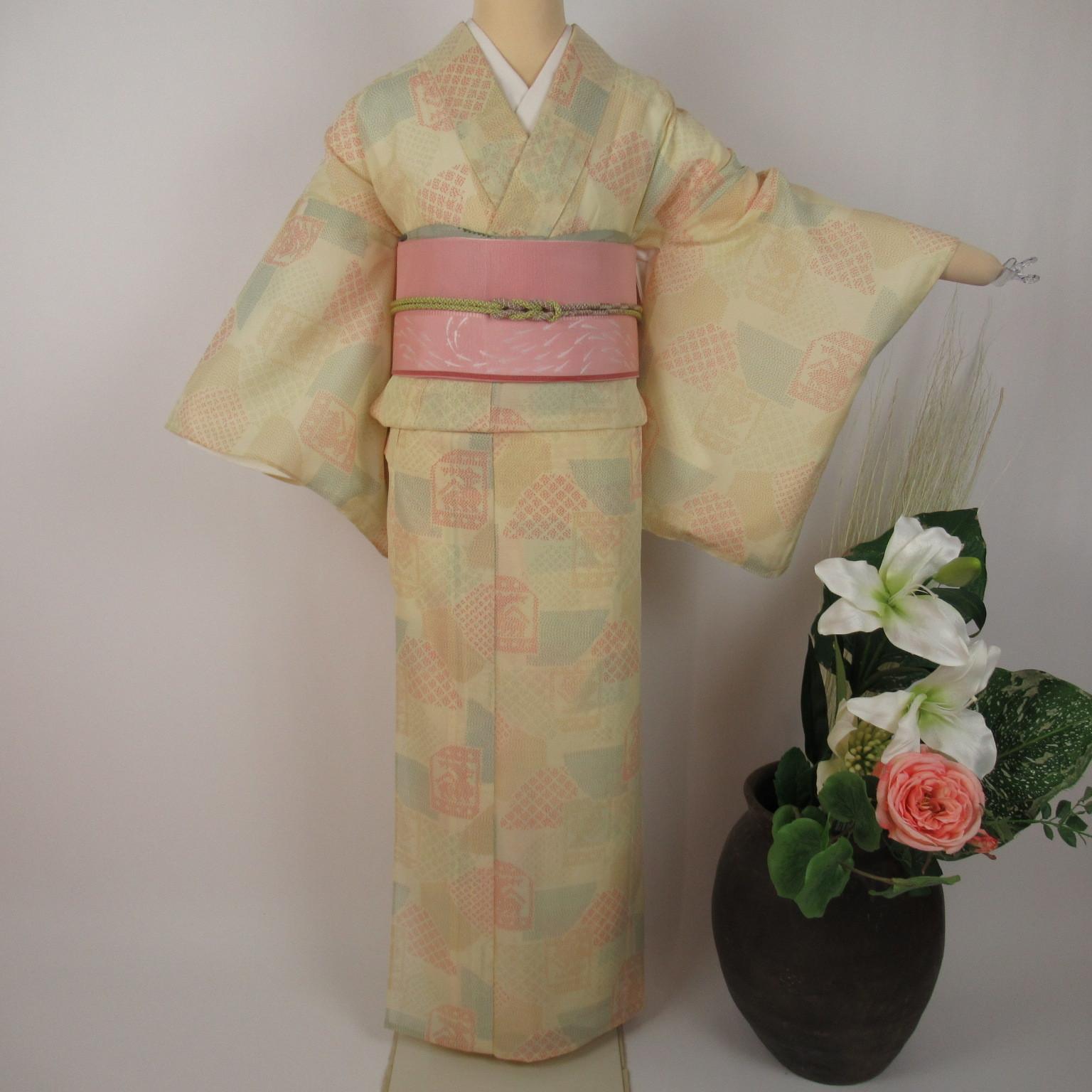 夏用 高身長 紗の小紋1109と紗袋帯4点セット