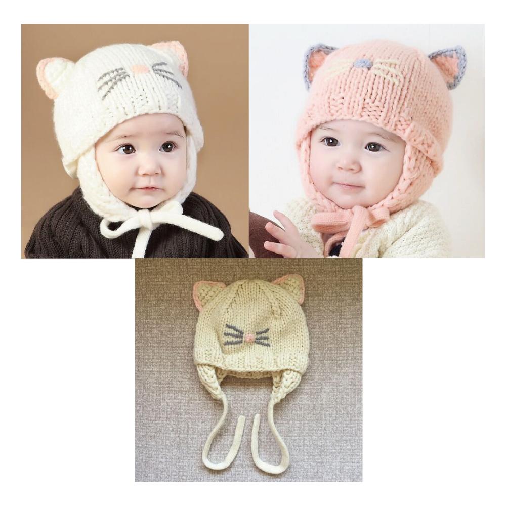 猫帽子(ベビー猫顔ニット帽子)全3種類