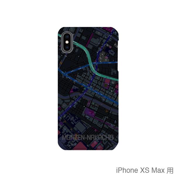 【門前仲町】地図柄iPhoneケース(バックカバータイプ・ブラック)