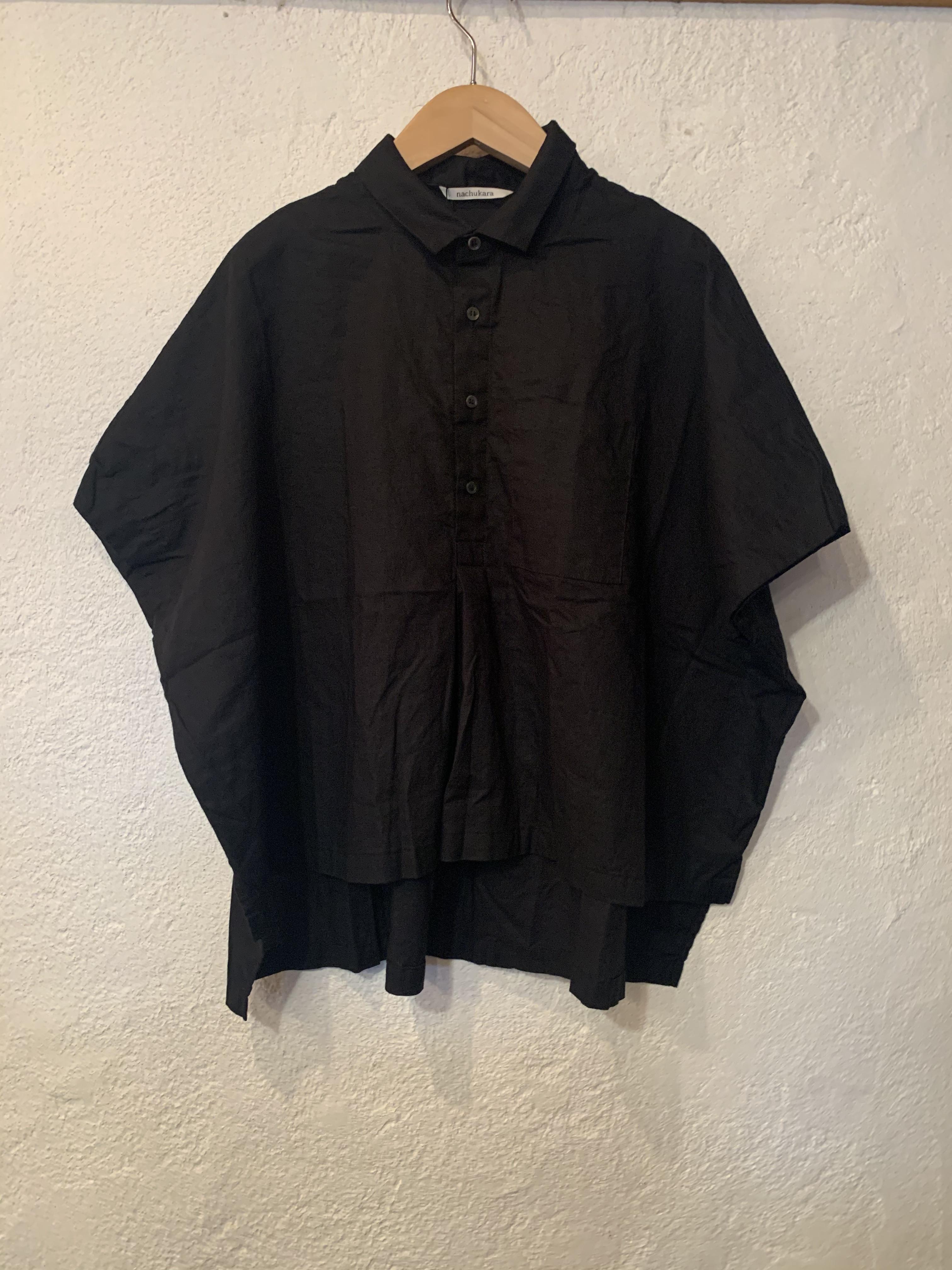nachukara/5分袖プルオーバーブラウス  ブラック