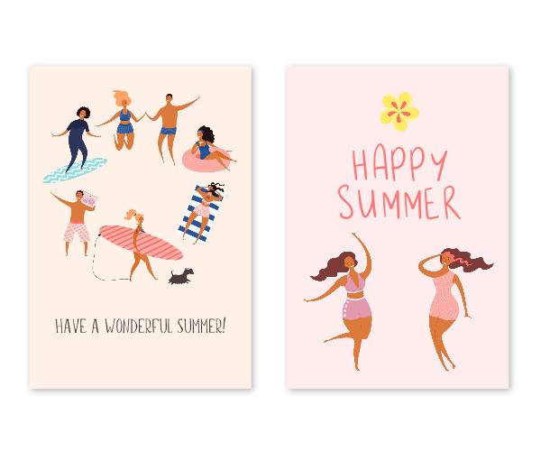 全2種類|海外のリゾートをイメージしたお洒落な英語の暑中見舞い