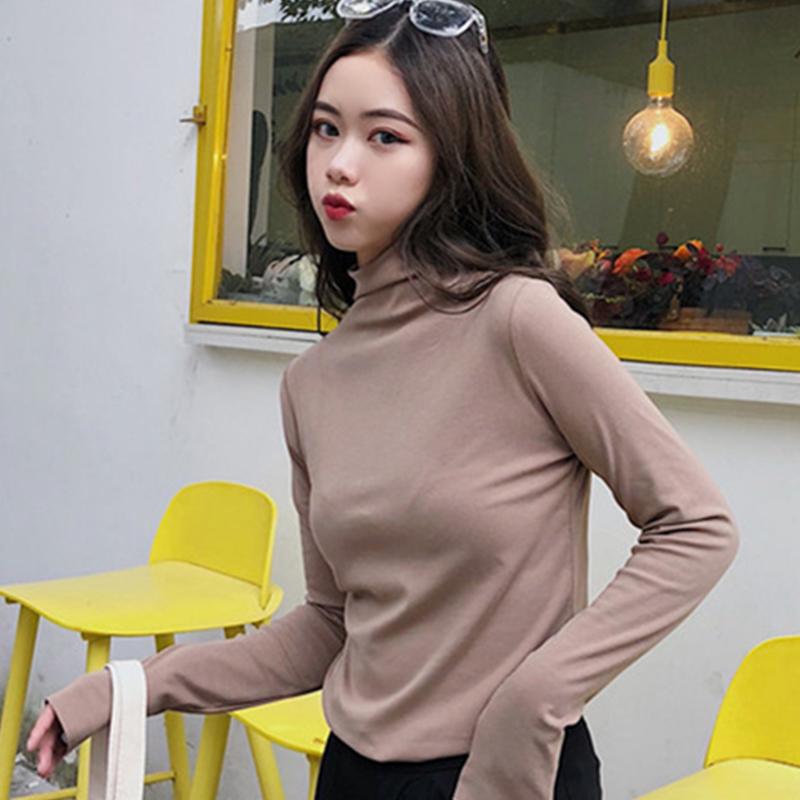 「トップス」シンプルOL気質ハイネック合わせやすいカジュアル3色長袖tシャツ