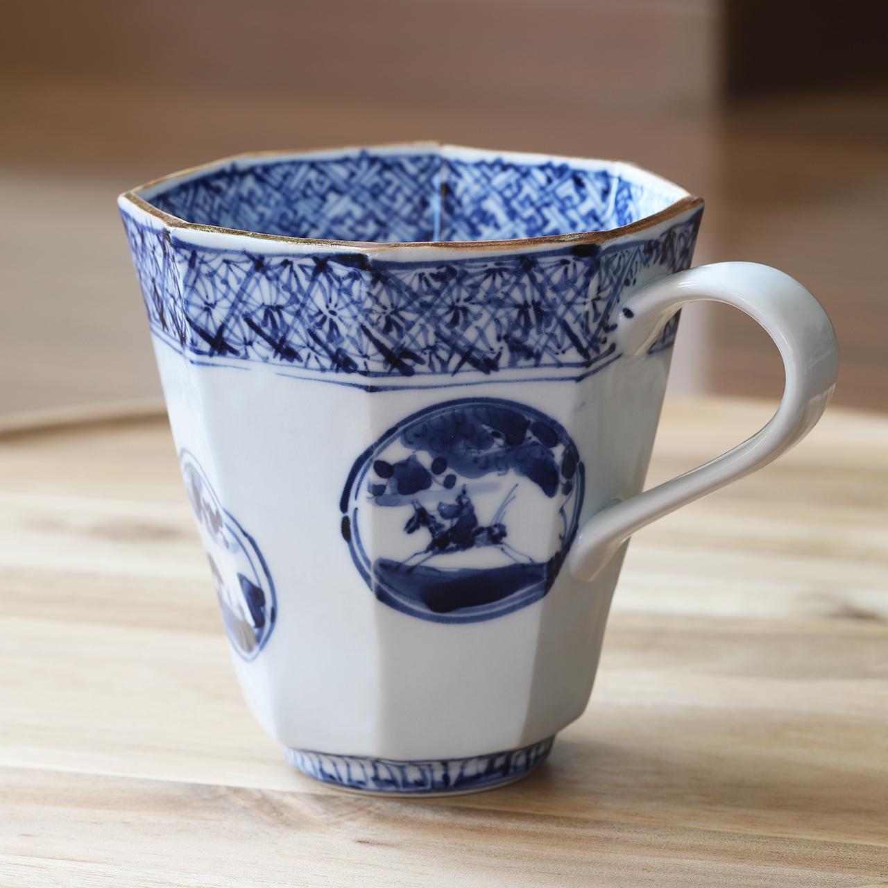 松尾貞一郎 祥瑞山水図 八角マグカップ 210204-K26 貞土窯(有田焼)