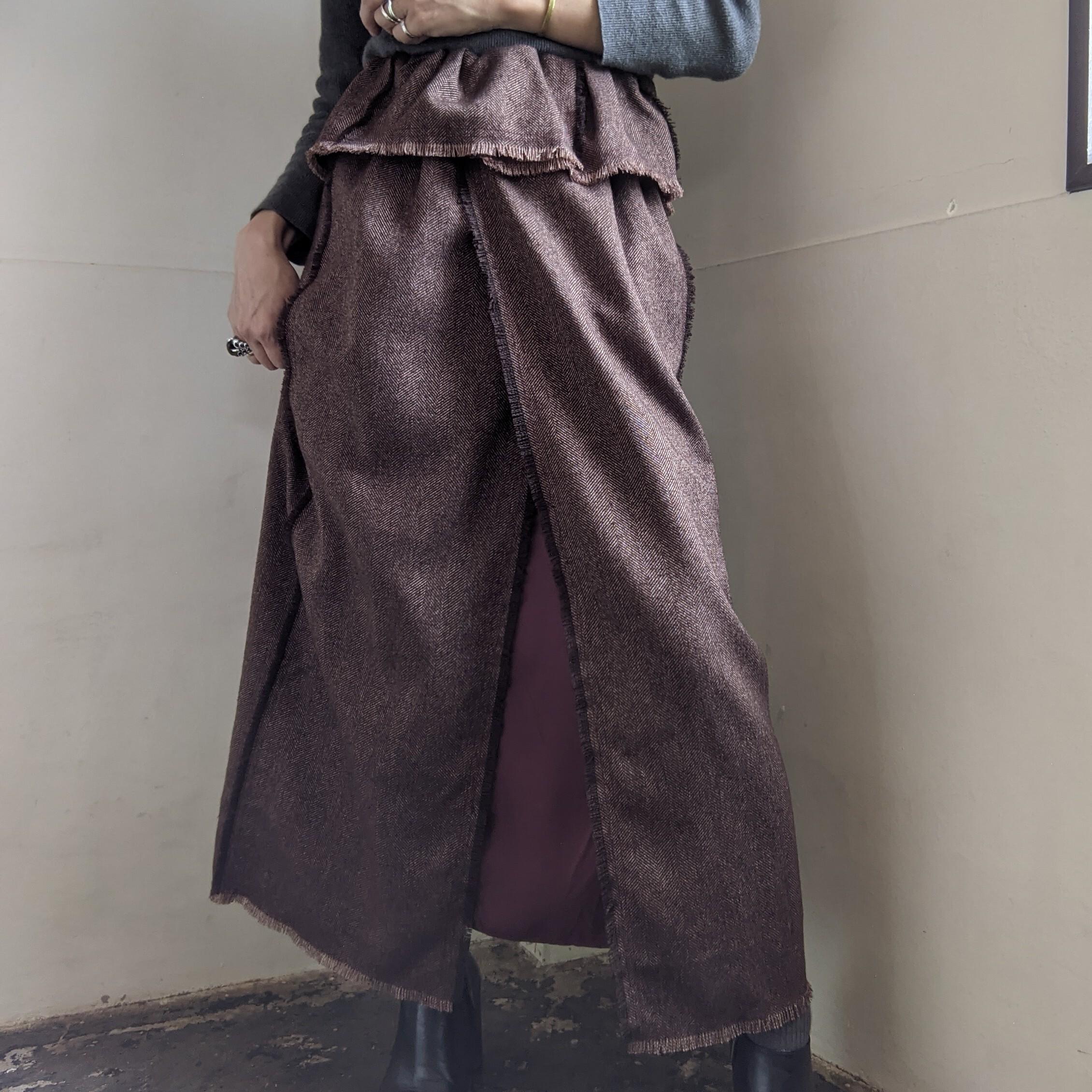 【 REHERSALL 】リハーズオール / ツイードフリンジスカート/  ブラウン BROWN  / ロングスカート