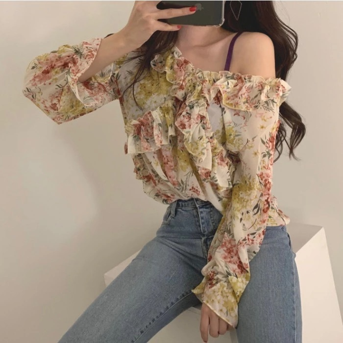 【即納】Beautyflowerblouse