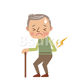 イラスト素材:腰を痛めるおじいちゃん(ベクター・JPG)
