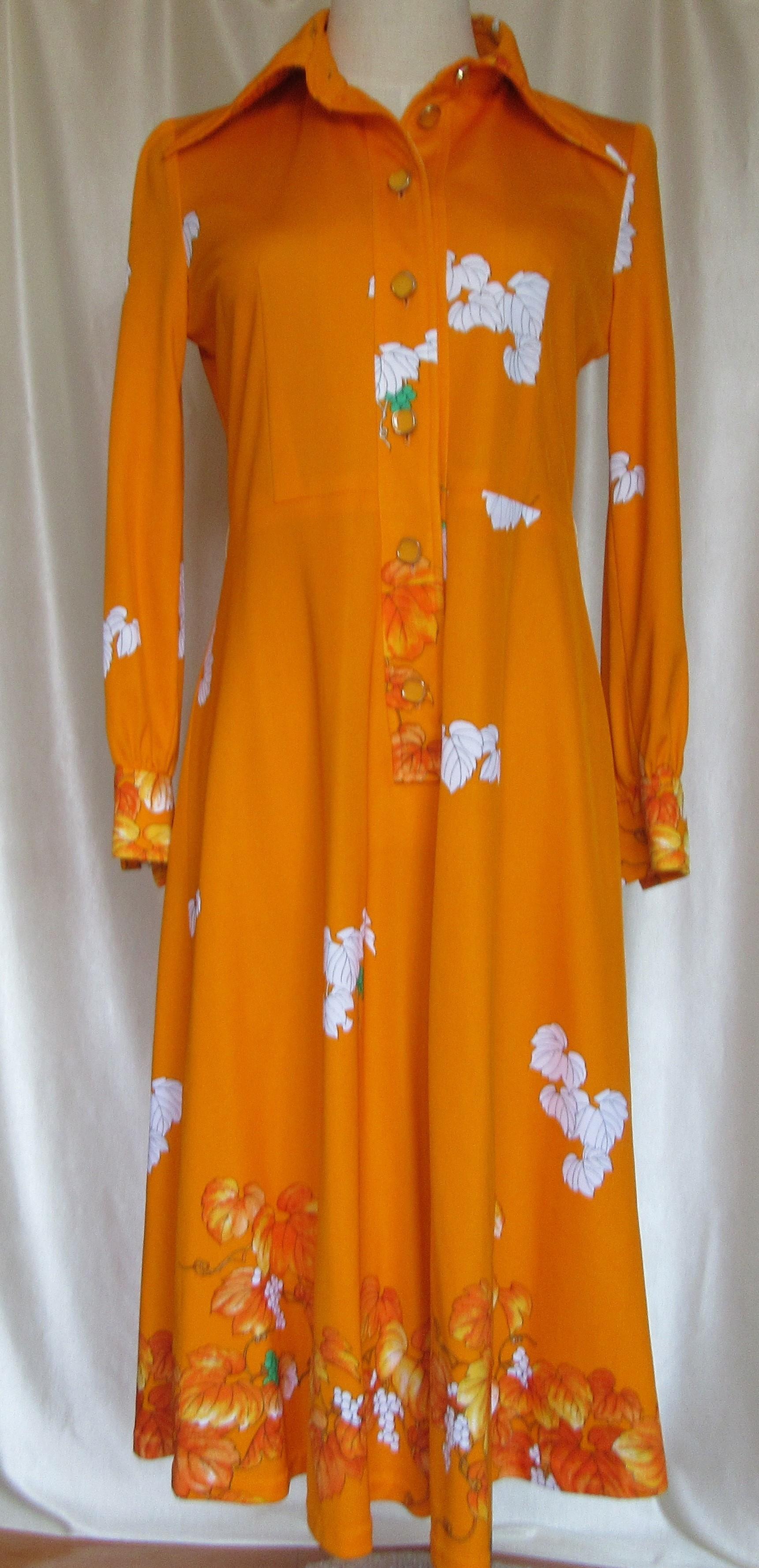 昭和レトロファッション古着 ワンピース オレンジ フレアースカート