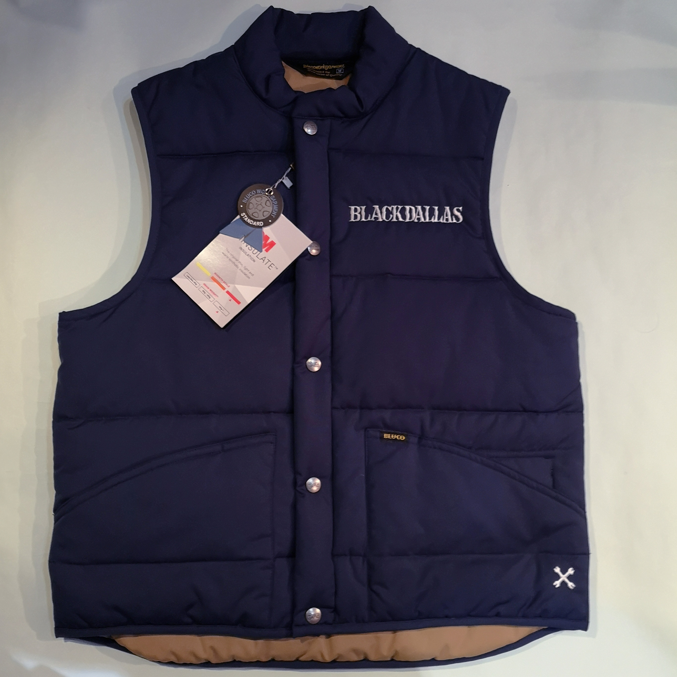 "BLACKDALLAS ""QUILTING VEST"" BLACK/NAVY BLUCO別注"