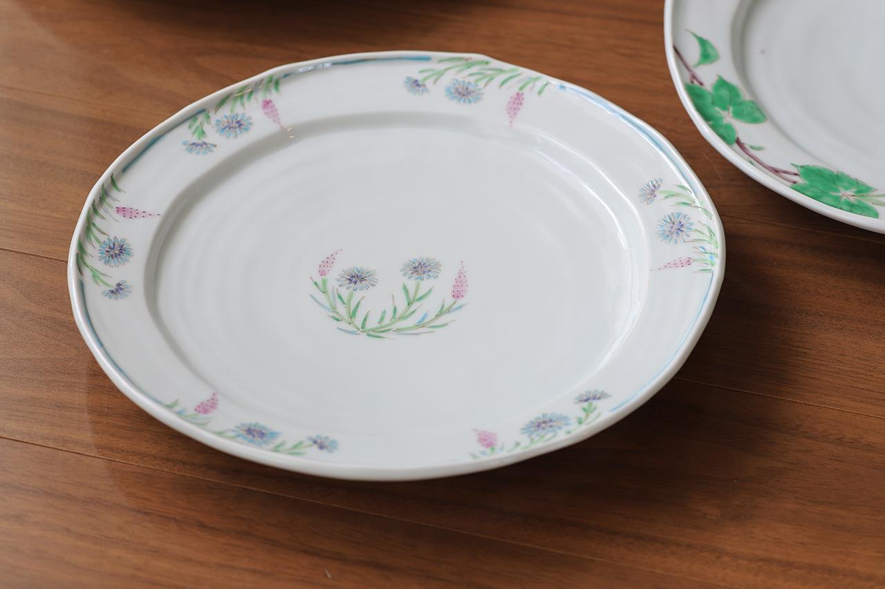 藍水 ノゲイトウ・ヤグルマソウ 8寸皿 うつわ藍水 波佐見焼 直径約25cmのプレート
