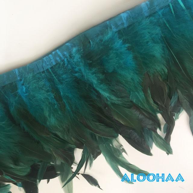 フェザーロール 【ターコイズ】 14~19cm丈 1m DIY 羽 タヒチアン 衣装材料 タヒチアン ポリネシアンフェザー